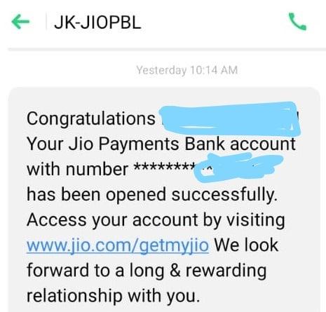 jio payments bank account