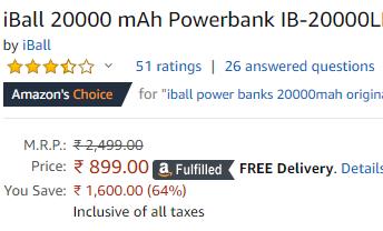 iball 20000 mah powerbank